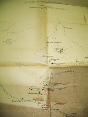 Карта Колывано-Воскресенских заводов. Из альбома М. А. Юдина